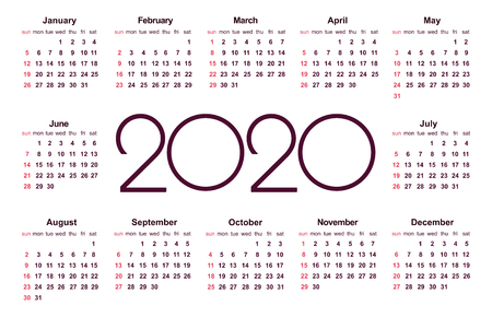 Calendar 2020 year. Simple Vector Template. Stationery Design Template. Calendar design in black and white colors, holidays in red colors. Isolated vector illustration on white background. 版權商用圖片 - 126474051