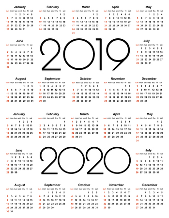 Calendar 2019 and 2020 year. Simple Vector Template. Stationery Design Template. Calendar design in black and white colors, holidays in red colors. Isolated vector illustration on white background. 版權商用圖片 - 126474054