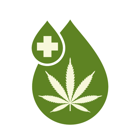 Medical Cannabis oil icon design with Marijuana leaf and hemp oil drop. CBD oil cannabis extract. Icon product label and logo graphic template. Isolated vector illustration on white background.