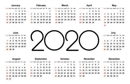 Calendar 2020 year. Simple Vector Template. Stationery Design Template. Calendar design in black and white colors, holidays in red colors. Isolated vector illustration on white background.