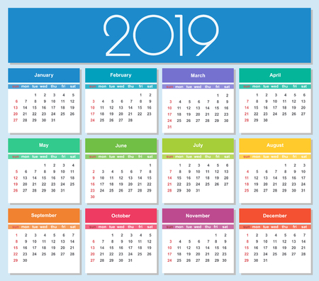 Colorful year 2019 calendar. Simple Vector Template. Isolated illustration