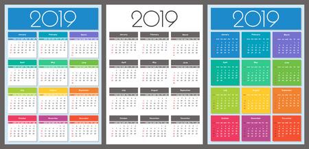 Calendar 2019 year. Colorful set. Simple Vector Template Ilustração