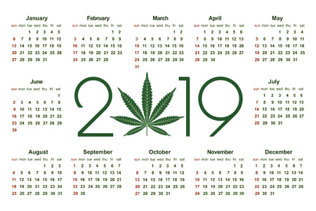 Marijuana calendar for 2019. Medical Cannabis. Simple Vector Template. Stationery Design Template. Isolated vector illustration on white background. 版權商用圖片 - 126474066