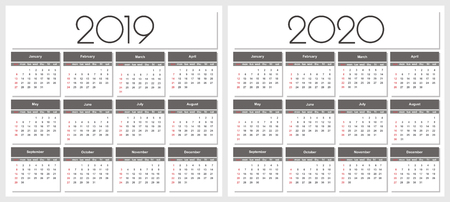 Calendar 2019 and 2020 year. Simple Vector Template. Stationery Design Template. Calendar design in black and white colors, holidays in red colors.