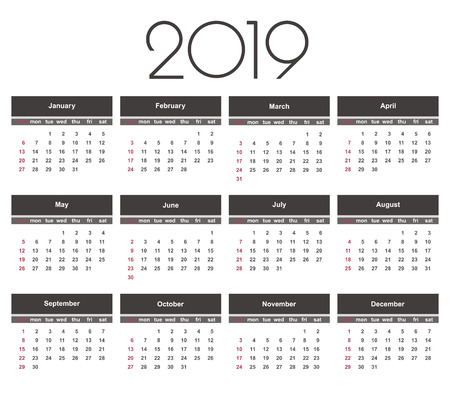 Calendar 2019 year. Simple Vector Template. Stationery Design Template. Calendar design in black and white colors, holidays in red colors. Isolated vector illustration on white background.