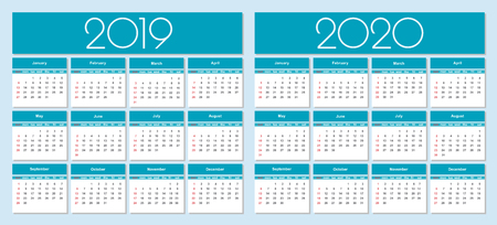 Calendar for 2019 and 2020 year blue background. Simple Vector Template. Isolated illustration.