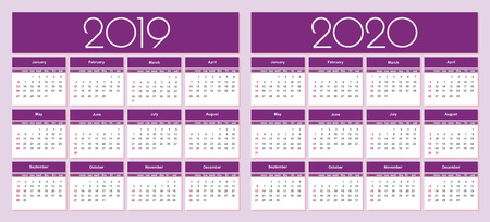 Calendar for 2019 and 2020 year purple background. Simple Vector Template. Isolated illustration. 向量圖像