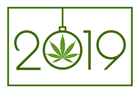 Marijuana in the New Year, 2019. Happy new year card. Isolated vector illustration on white background. 向量圖像
