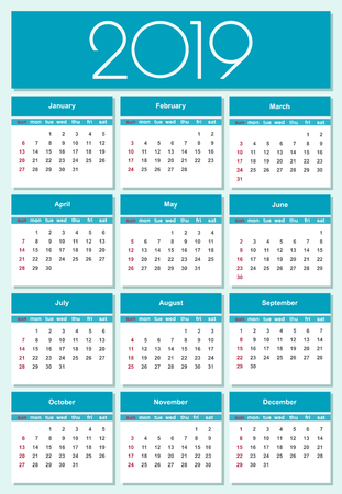 Calendar for 2019 blue background. Simple Vector Template. Isolated illustration.