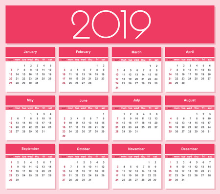 Calendar for 2019 red background. Simple Vector Template. Isolated illustration.