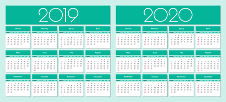 Calendar for 2019 and 2020 year green background. Simple Vector Template. Isolated illustration.