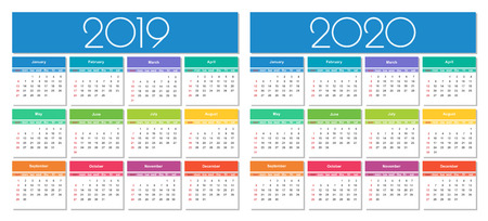 Calendar 2019 and 2020 year. Colorful set. Simple Vector Template 向量圖像