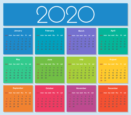 Colorful year 2020 calendar. Simple Vector Template. Isolated illustration