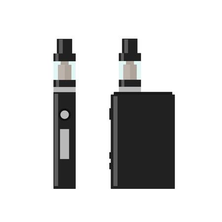 Vape Pen. Vaping box. E-cigarette for vaping. Electronic Cigarette. Isolated vector illustration on white background. Ilustracja