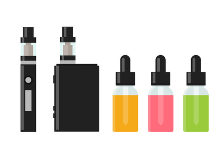 Vaping device and accessory. Electronic cigarette and bottles with vape liquid. e- liquid, e-juice. Mockup of Vape bottle with liquid. Isolated vector illustration on white background. 向量圖像