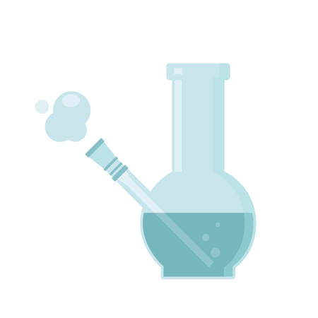 Glass bong for smoking. Isolated vector illustration on white background. Illustration