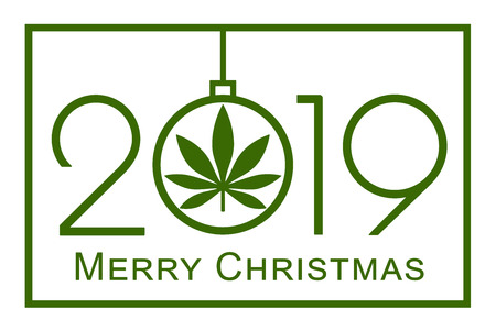 Christmas greeting card with marijuana leaf. Cannabis in the New Year, 2019. Simple Vector Template. Isolated illustration on white background.