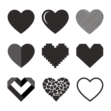 Vector black hearts icons set. Isolated illustration on white background.