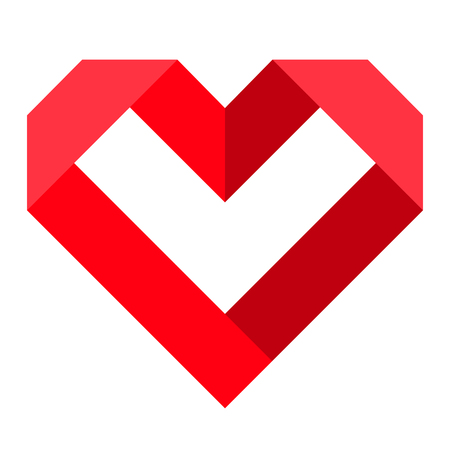 Red heart icon, love icon. Isolated vector illustration on white background. Çizim