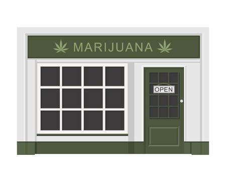 Marijuana store. Cannabis products. Marijuana Legalization. Isolated vector illustration on white background. Çizim