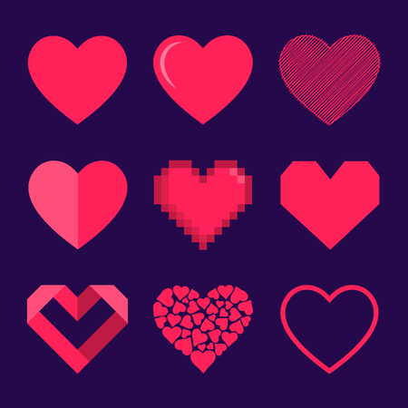 Set of hearts, vector icon. Isolated vector illustration