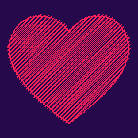 Scribbled pink heart, love icon. Isolated vector illustration. Çizim