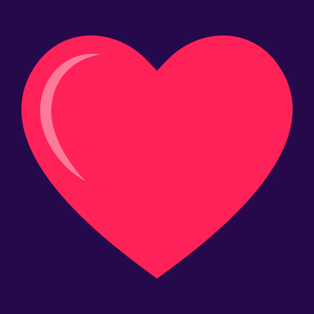 Pink heart icon, love icon. Isolated vector illustration