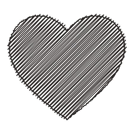 Scribbled black heart. Isolated vector illustration on white background.