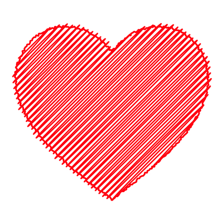 Scribbled red heart. Isolated vector illustration on white background. Çizim