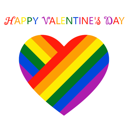 Beautiful colorful heart in flowers of LGBT flag, inscription happy valentines day. Isolated vector illustration on white background.