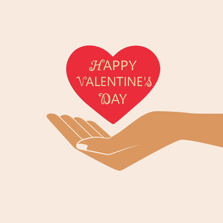 Hand Giving Love Symbol. Happy Valentine s day vector card. Isolated vector illustration. 向量圖像