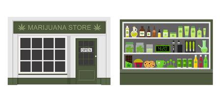 Marijuana store. Marijuana equipment and accessories for smoking, storing medical cannabis. Cannabis products. Marijuana Legalization. Isolated vector illustration. Çizim