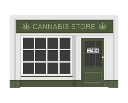 Cannabis store. Marijuana products. Marijuana Legalization. Isolated vector illustration on white background. Stock Illustratie