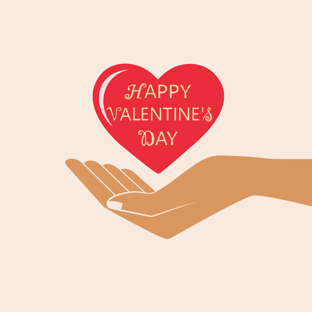 Hand Giving Love Symbol. Happy Valentine s day vector card. Isolated vector illustration. Çizim