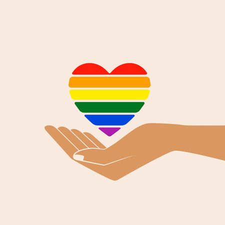 Hand with heart rainbow. LGBT heart. Love is love - pride slogan. Lgbt support, fight for gay rights. Isolated vector illustration. Illustration