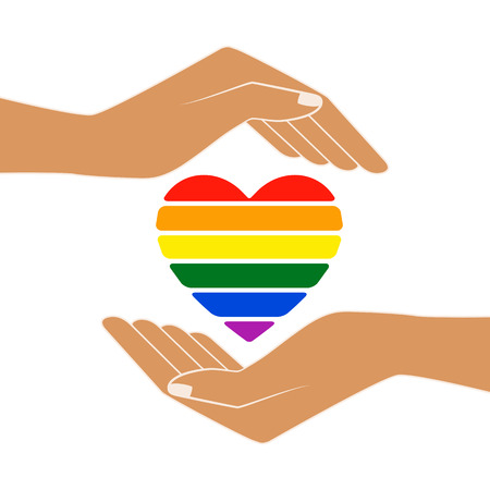 Hands with heart rainbow. LGBT heart. Love is love - pride slogan. Lgbt support, fight for gay rights. Isolated vector illustration.