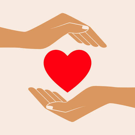 Hands holding heart shape, vector icon. Isolated vector illustration.