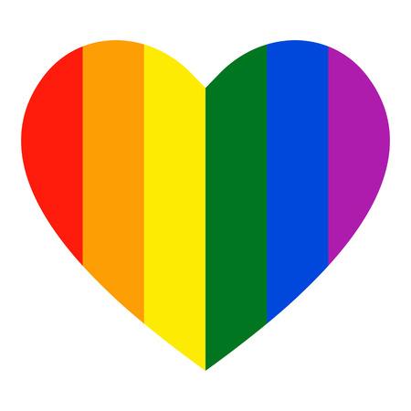 Rainbow heart icon. LGBT flag, symbol. LGBT heart. Isolated vector illustration Çizim