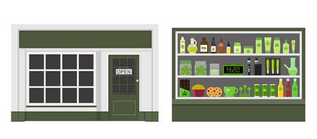 Marijuana store. Marijuana equipment and accessories for smoking, storing medical cannabis. Cannabis products. Marijuana Legalization. Isolated vector illustration. Illustration