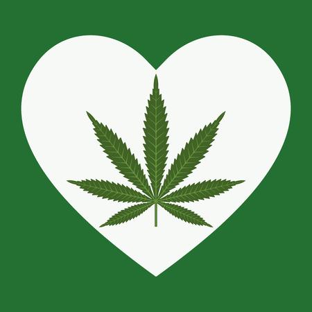 Heart symbol with cannabis leaf inside. Marijuana Heart. Isolated vector illustration Çizim