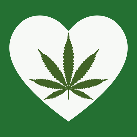 Heart symbol with cannabis leaf inside. Marijuana Heart. Isolated vector illustration Ilustração