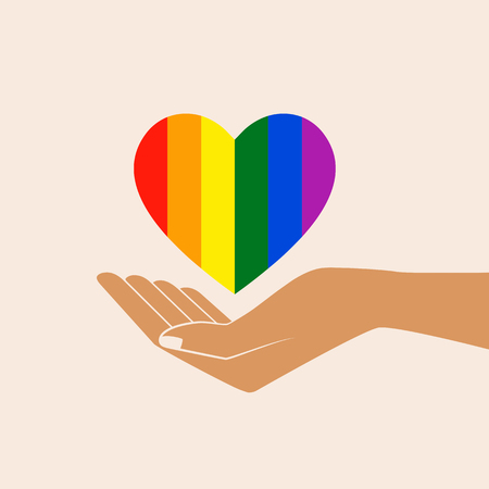 Hand with heart rainbow. LGBT heart. Love is love - pride slogan. Lgbt support, fight for gay rights. Isolated vector illustration. Çizim