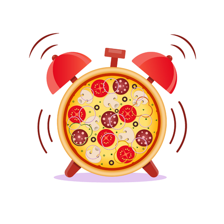 Pizza with mushrooms, salami, tomato and sausage. Pizza time. Snack time. Isolated vector illustration.