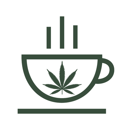 Cannabis herbal tea and marijuana leaves. Icon vector logo template. Isolated vector illustration on white background. Çizim