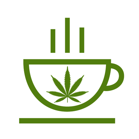 Cannabis herbal tea and marijuana leaves. Icon vector logo template. Isolated vector illustration on white background. Illustration