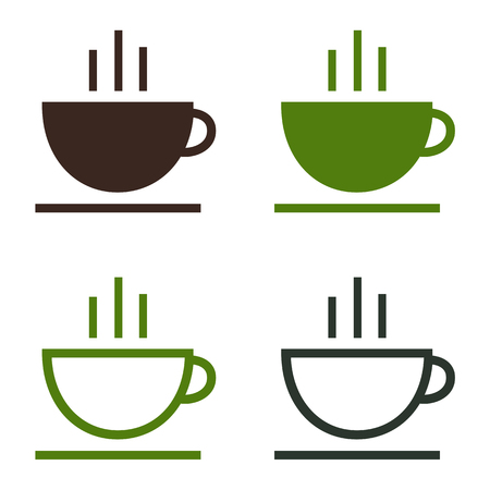 Cup of coffee tea hot drink simple icon set. Vector logo template. Isolated illustration on white background.