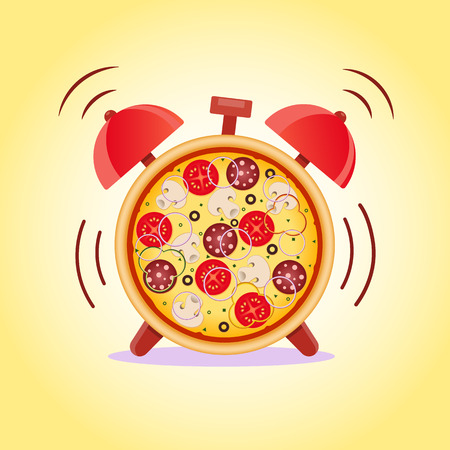 Pizza with mushrooms, salami, tomato and sausage. Pizza time. Snack time. Vector illustration