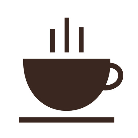 Coffee and tea cup logotype. Icon vector logo template. Isolated illustration on white background. Çizim