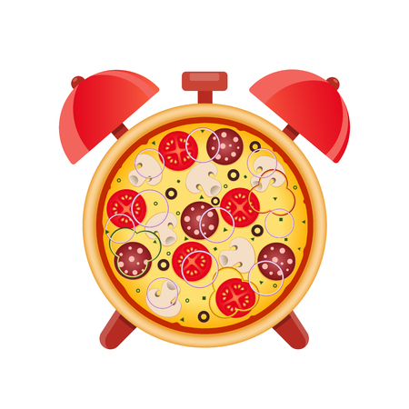 Pizza with mushrooms, salami, tomato and sausage. Pizza time. Snack time. Isolated vector illustration on white background. Çizim