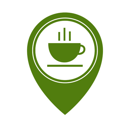 Map pointer with hot tea cup icon isolated on white background. Food and drink pointer. Vector illustration